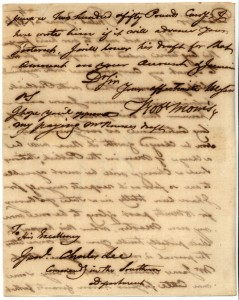 Robert Morris's letter to Gen. Charles Lee