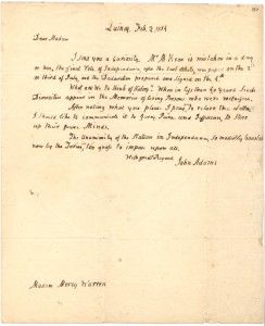 Letter from John Adams to Mercy Otis Warren, page 1